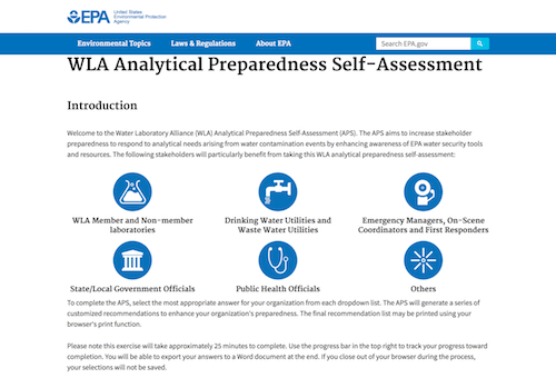 EPA WLA Analytical Preparedness Self-Assessment